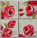4 Ceramic Coasters in Clarke and Clarke Nancy Rose Rouge Red Shabby Chic